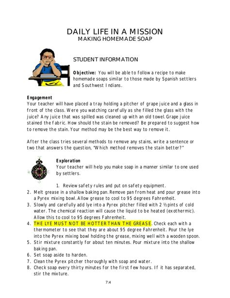 teacher instructions making homemade soap   mission