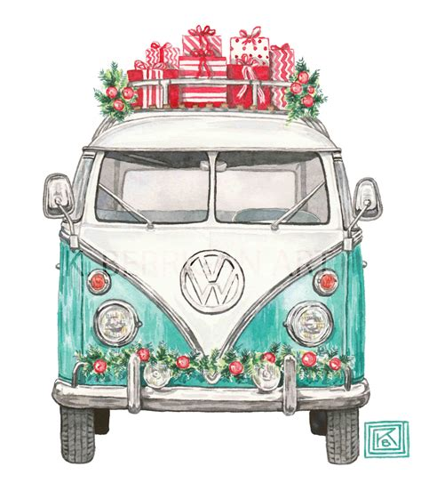 volkswagen old van drawing christmas vw christmas volkswagen greeting cards