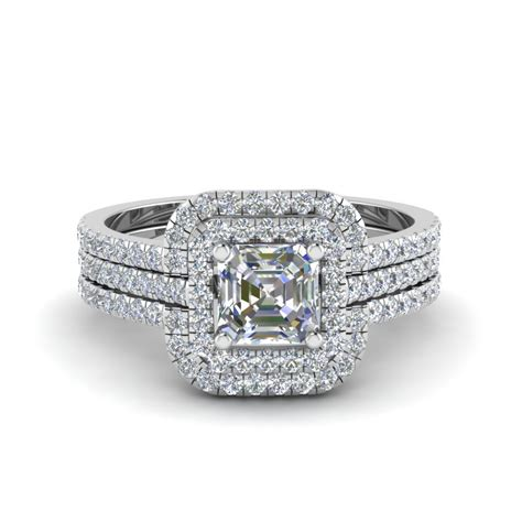 asscher cut square halo engagement ring guard in 14k white gold fascinating diamonds