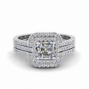 asscher cut square halo diamond engagement ring guard in With square cut wedding ring
