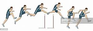 Different Stages Of Athlete Jumping Over Hurdles Stock
