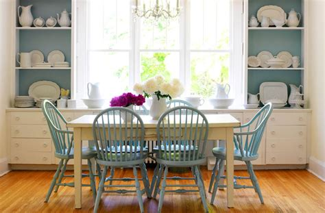 turquoise blue dining chairs cottage dining room
