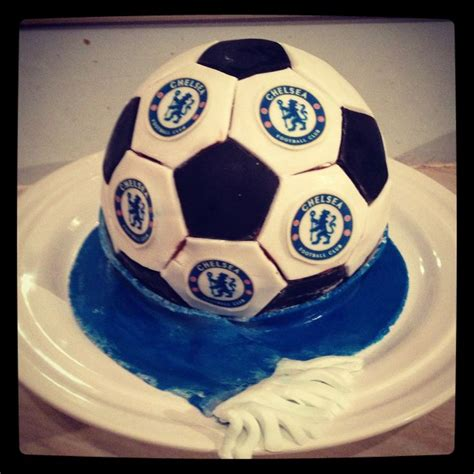 Chelsea Fc Cake, 2nd Football Cake Attempt Food