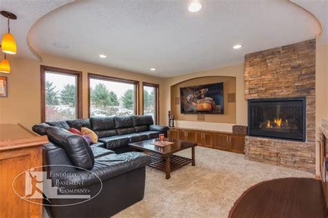Basement Tv Wall & Fireplace  Traditional Basement