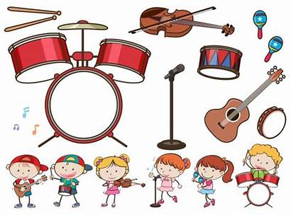 Instruments Musical Different Children Playing Drums Clipart