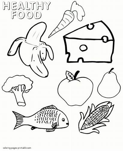 Coloring Healthy Pages Printable Foods Picnic Children