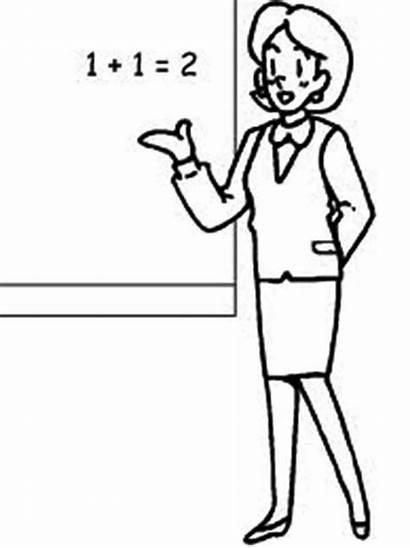 Teacher Clipart Coloring Cartoon Math Drawing Teaching