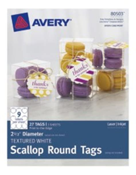 avery textured white scallop  tags
