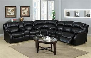 large bold black leather sectional recliner sofa and oval With coffee table for large sectional