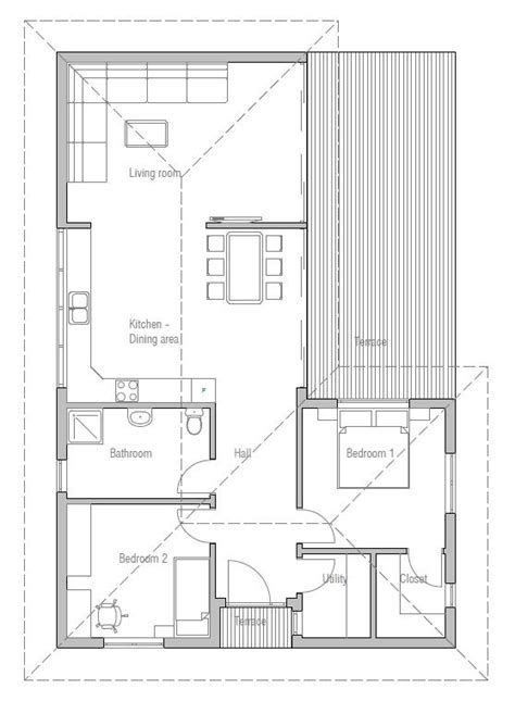 small house plan to narrow lot with two bedrooms open