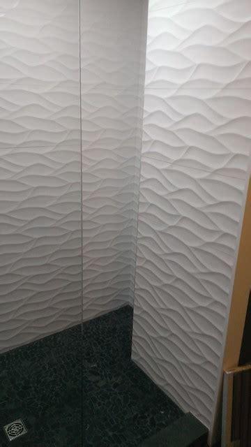 MASTER BATHROOM   Large Wave Tile Shower / Penny Tile