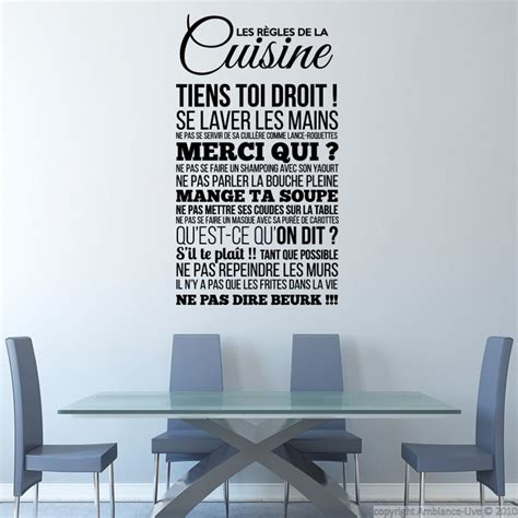stickers ecriture cuisine sticker les règles de la cuisine stickers citations