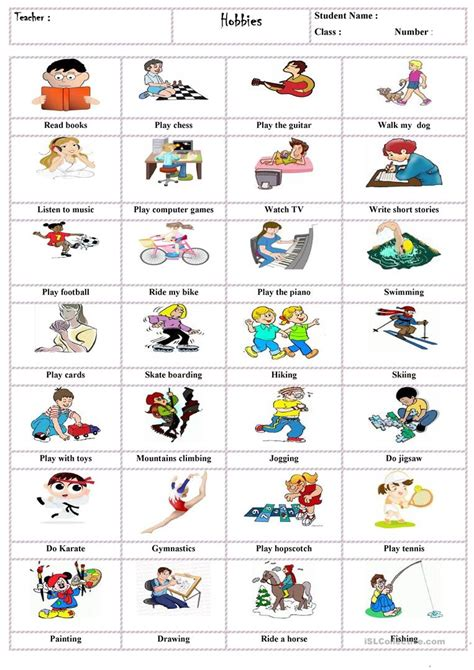 hobbies english esl worksheets  distance learning