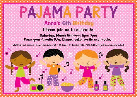 Pajama Party Birthday Invitation Sleepover Birthday