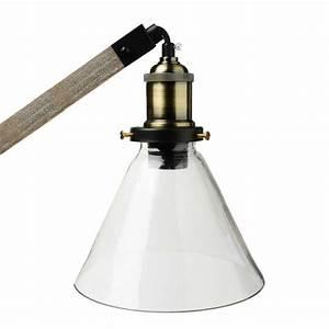 Lampe à Poser Bois : lampe poser m tal bois 59cm gris ~ Teatrodelosmanantiales.com Idées de Décoration
