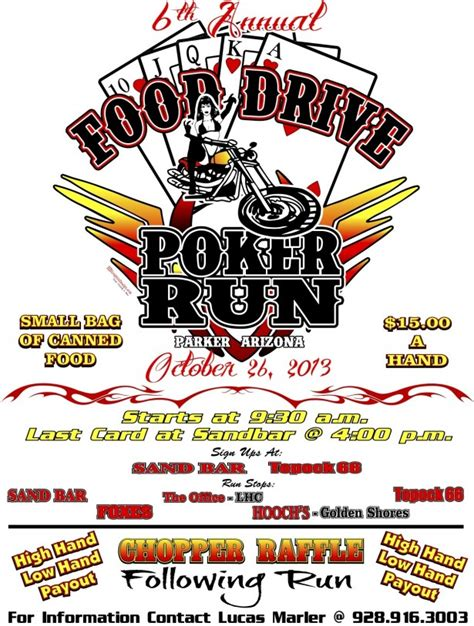 6th Annual Food Drive Poker Run  Parker Live. Mothers Day Ads. Weekly Work Schedule Template Pdf. Software Reseller Agreement Template. Tree Removal Contract Template. Kappa Delta Pi Graduation Cords. Football Play Diagram Template. Free Printable Yard Sale Signs. Uc Boulder Graduate Programs