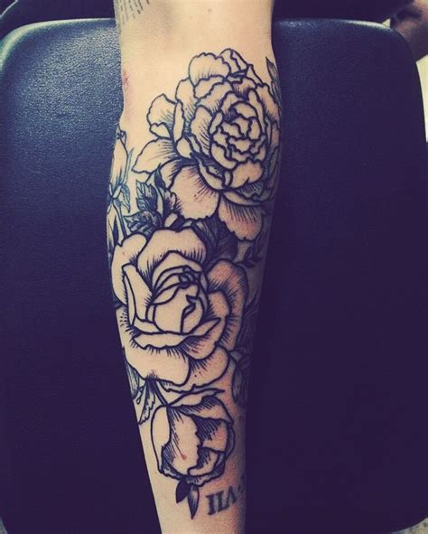 fresh black  white rose tattoo sleeve   man