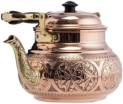 demmex engraved solid copper tea pot kettle stovetop teapot  quart  home kitchen store