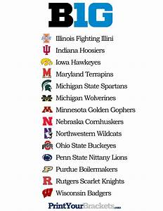 List of Teams in the Big 10 - Printable