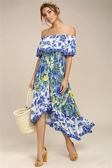 chic   shoulder dress blue floral print dress