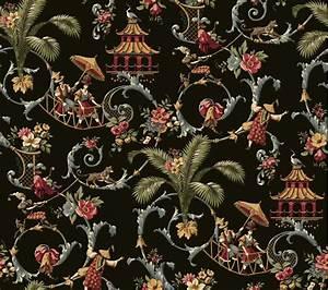chinatapeten shop chinesische tapeten in schwarz gold With balkon teppich mit blau gold tapete