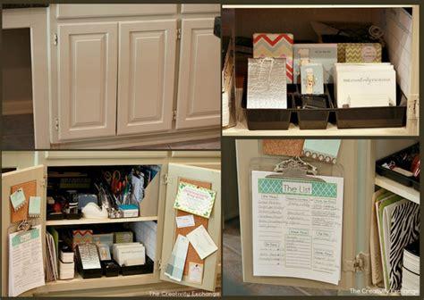 kitchen office organization ideas easy kitchen cabinet mini office organize 5425