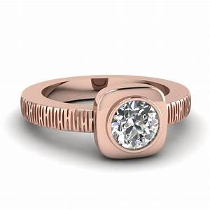 rose gold round white diamond engagement wedding ring in With bezel set wedding ring