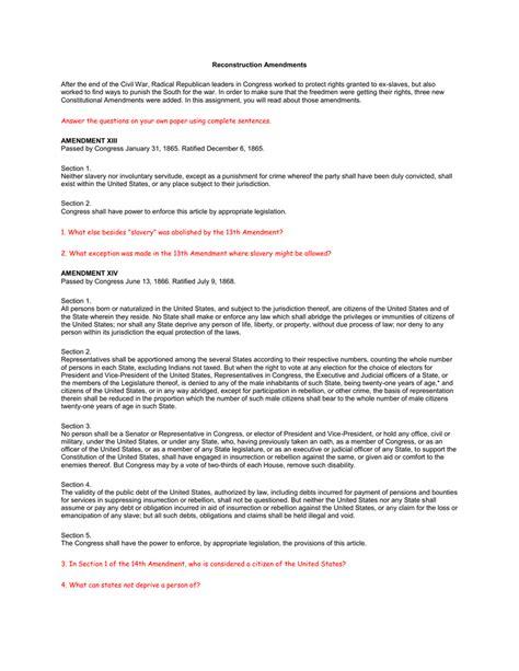 reconstruction amendments worksheet