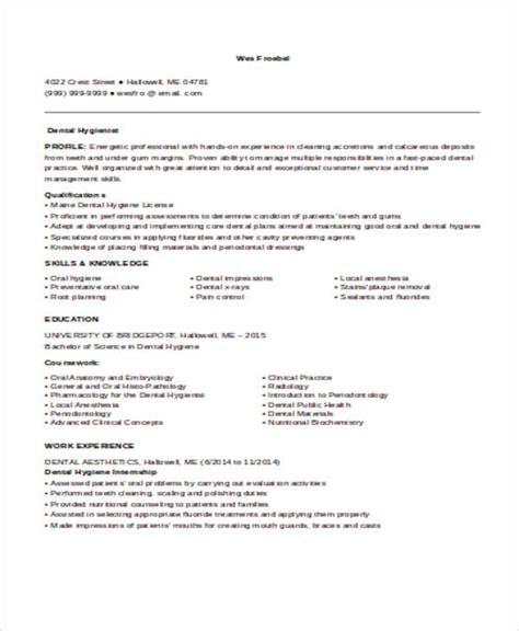 sle dental hygienist resume 8 exles in word pdf