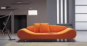 Contemporary, Orange, Harmony, Sofa, With, Unique, Shape