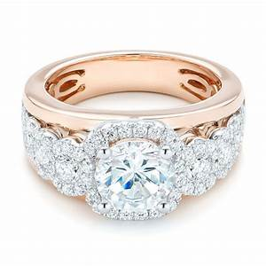 Cluster diamonds and halo two tone engagement ring 102488 for Cluster wedding rings