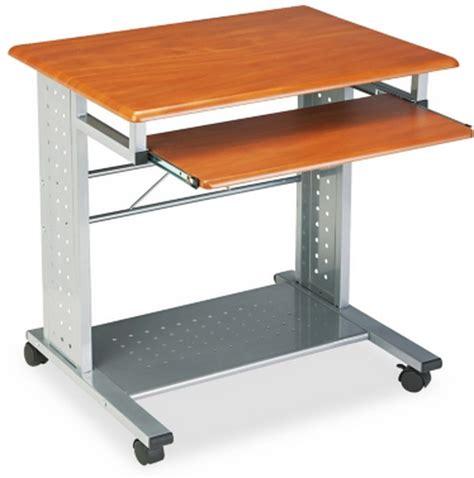 rolling computer desk new portable computer workstation steel cherry laminate