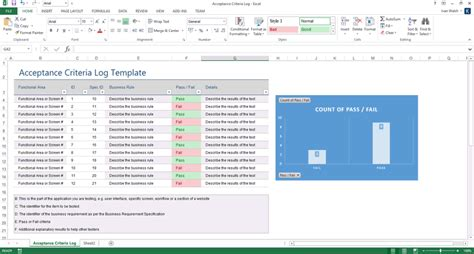 acceptance criteria log template ms excel software testing