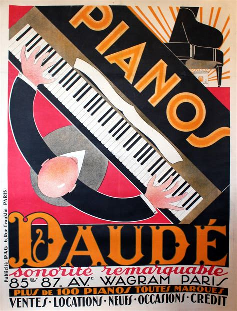 large original vintage 1920s deco advertising poster for piano daude at 1stdibs