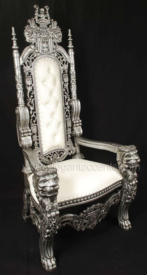 King Lion Throne Chair - $995 Distressed Silver finish
