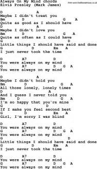 Song Lyrics With Guitar Chords For Always On My Mind  Uke  Pinterest 음악