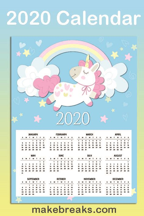 printable unicorn  page  calendar   breaks