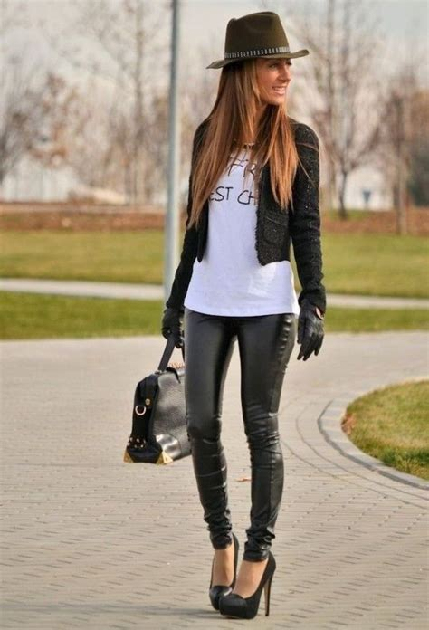 Black Leather Pants With Pumps, Short Jacket, T shirt