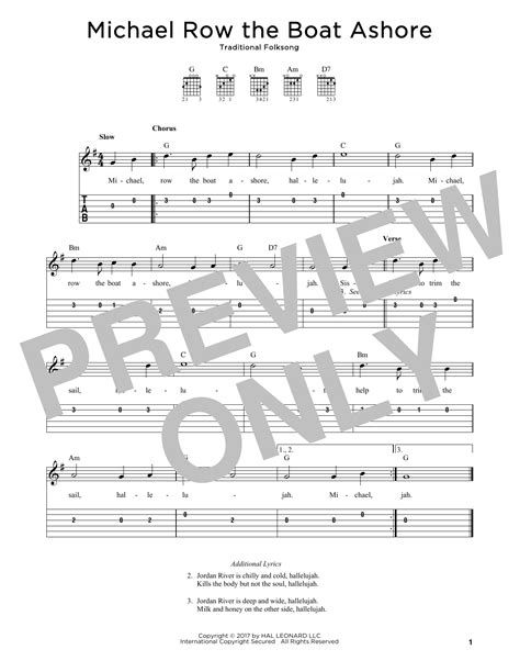 Michael Row The Boat Ashore Easy Chords by Michael Row The Boat Ashore Guitar Tab By Traditional