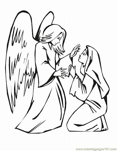 Coloring Angel Mary Printable Clipart Angels Visits