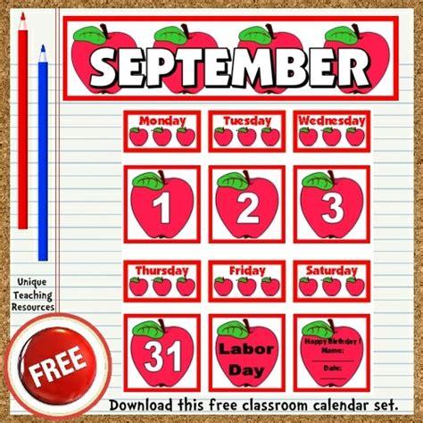 free printable september classroom calendar for school