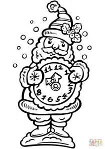 clock coloring page santa holding a clock coloring page free printable