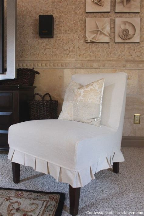 Accent Chair Slipcover Slip Covering An Armless Accent Chair Great Tutorial