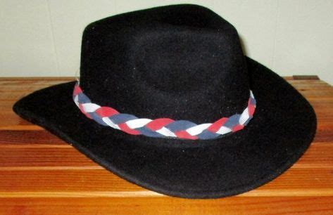 custom   red white blue braided leather hat band
