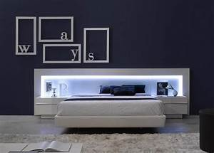 spain made ultra modern platform bed w led headboard With chambre bébé design avec fleur lumineuse led
