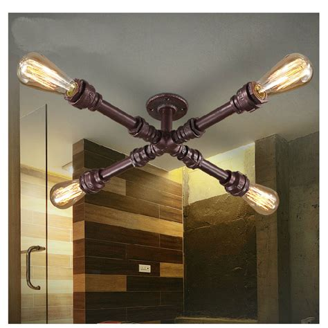 iron pipe light fixture copper american vintage loft wrought iron water pipe