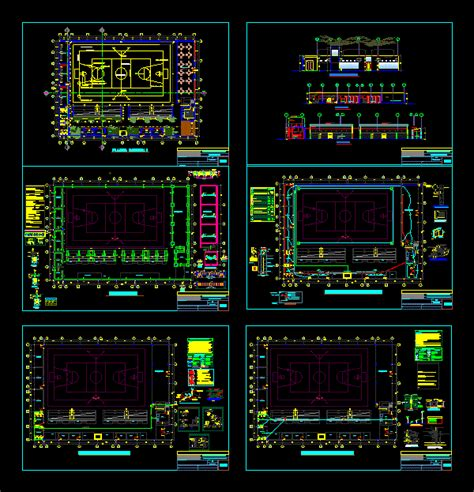 mini sports complex  dwg design full project  autocad