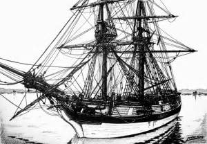Old Pirate Ship Pencil Drawing