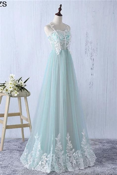Charming Long Flowy Spaghetti Straps Lace Tulle Mint Prom ...