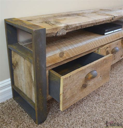 rustic media console table  tool belt